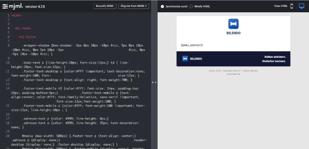 MJML Online-Editor - so entsteht Ihre responsive E-Mail-Mahnvorlage
